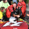 John P. Cleary | The Herald Bulletin<br /> 53rd annual Redbud 400 at Anderson Speedway. Race winner Johnny VanDoorn has to be helped out of his racecar after winning the Redbud 400, leading 338 0f the 400 laps of the race.