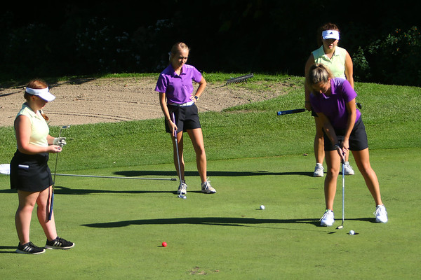 Golf matchup between Northwestern HS and Eastern HS at Green Acres Golf Course on Sept. 5, 2019. Northwestern's Audrey Koetter making her putt on the 3rd green.<br /> Tim Bath | Kokomo Tribune