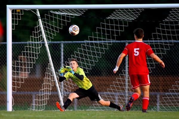Kokomo's Joey McConnell stops another shot during soccer action between Kokomo High School and Logansport High School on Sept. 17, 2019.<br /> Tim Bath | Kokomo Tribune