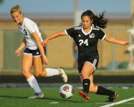 9-28-19<br /> Western vs Central Catholic girls soccer Hoosier Conference Tournament<br /> Western's Chansy Faeldin goes after the ball.<br /> Kelly Lafferty Gerber | Kokomo Tribune