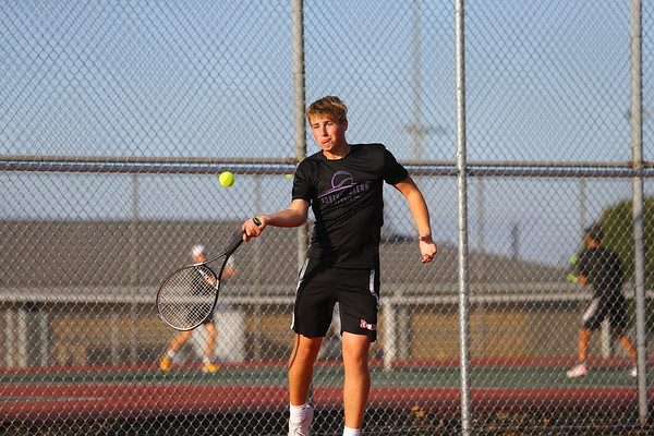 Will Lovelace playing doubles with Addison Horner for Northwestern Tennis against Rochester on Sept. 25, 2019. <br /> Tim Bath   Kokomo Tribune