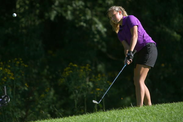 Golf matchup between Northwestern HS and Eastern HS at Green Acres Golf Course on Sept. 5, 2019. Northwestern's Audrey Koetterl chipping onto the 4th green.<br /> Tim Bath | Kokomo Tribune