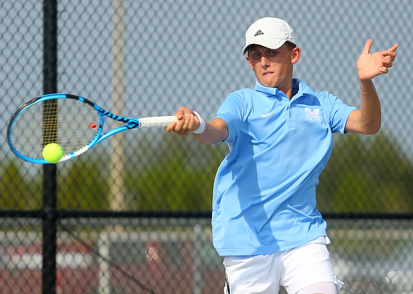 9-10-19<br /> Kokomo vs Maconaquah boys tennis<br /> Maconaquah 1 singles Cole Borden<br /> Kelly Lafferty Gerber | Kokomo Tribune