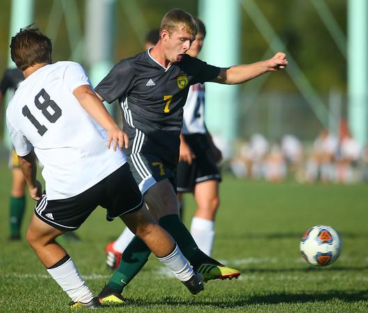 9-26-19<br /> Eastern vs Sheridan boys soccer<br /> Eastern's Luke Swartzendruber heads to the ball.<br /> Kelly Lafferty Gerber   Kokomo Tribune