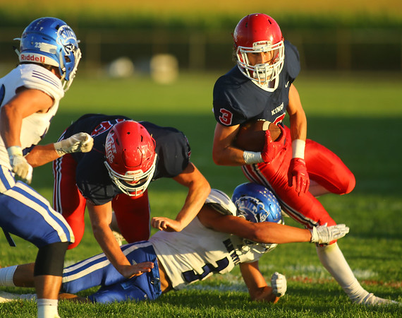 9-13-19<br /> Cass vs Tipton football<br /> Cass' Easton Good carries the ball.<br /> Kelly Lafferty Gerber | Kokomo Tribune