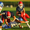 9-13-19<br /> Cass vs Tipton football<br /> Cass' Easton Good carries the ball.<br /> Kelly Lafferty Gerber | Kokomo Tribune