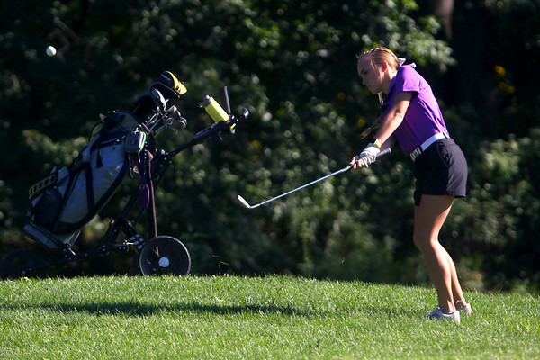 Golf matchup between Northwestern HS and Eastern HS at Green Acres Golf Course on Sept. 5, 2019. Northwestern's Kristin Piel chipping onto the 4th green.<br /> Tim Bath | Kokomo Tribune