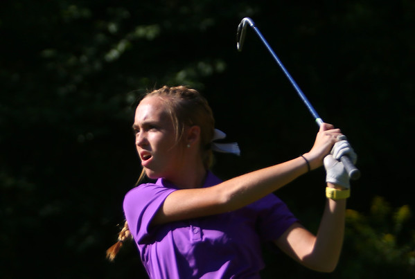 Golf matchup between Northwestern HS and Eastern HS at Green Acres Golf Course on Sept. 5, 2019. Northwestern's Kristin Piel teeing off the second tee.<br /> Tim Bath | Kokomo Tribune