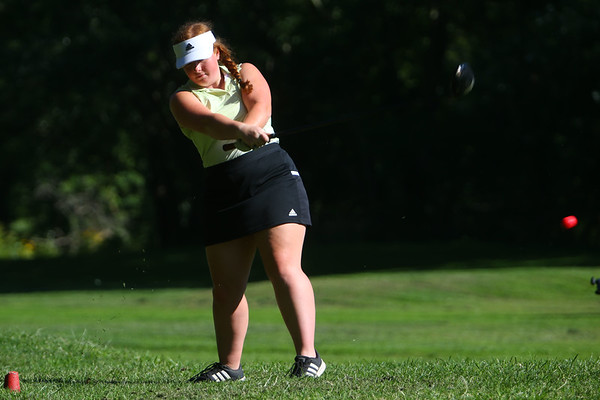 Golf matchup between Northwestern HS and Eastern HS at Green Acres Golf Course on Sept. 5, 2019. Eastern's Alexandra Martin hitting off the tee of the 3rd hole.<br /> Tim Bath | Kokomo Tribune