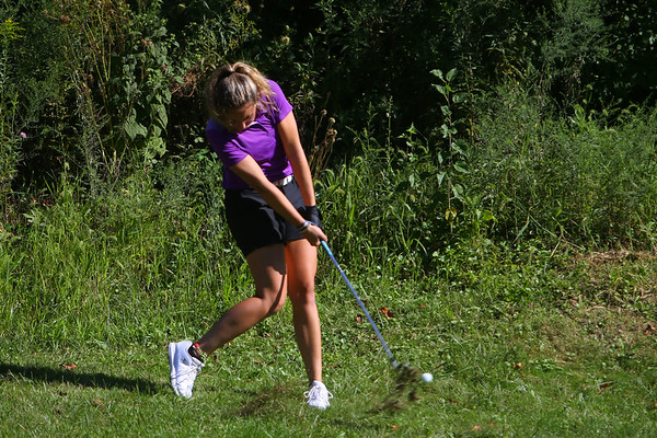 Golf matchup between Northwestern HS and Eastern HS at Green Acres Golf Course on Sept. 5, 2019. Northwestern's Audrey Koetter on the fairway of the second hole.<br /> Tim Bath | Kokomo Tribune