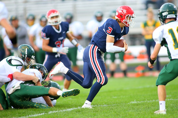 Easton Good breaks away from a tackle to score a touchdown as  Lewis Cass High School football defeated Benton Central 68-0 on Sept. 6, 2019.<br /> Tim Bath | Kokomo Tribune