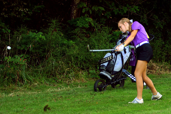 Golf matchup between Northwestern HS and Eastern HS at Green Acres Golf Course on Sept. 5, 2019. Northwestern's Kristin Piel on the fairway of the second hole.<br /> Tim Bath | Kokomo Tribune