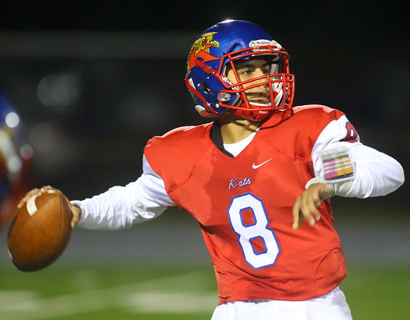 9-27-19<br /> Kokomo vs Muncie Central football<br /> Kokomo's Andrews Begne throws a pass.<br /> Kelly Lafferty Gerber | Kokomo Tribune