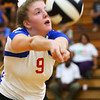 Corell Heath goes after a wild ball as Kokomo High School volleyball team defeats North Miami High School on Sept. 18, 2019.<br /> Tim Bath | Kokomo Tribune