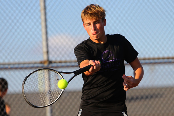Will Lovelace playing doubles with Addison Horner for Northwestern Tennis against Rochester on Sept. 25, 2019. <br /> Tim Bath | Kokomo Tribune