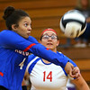 Jada-Claire Broomfield returning a wild ball as Kokomo High School volleyball team defeats North Miami High School on Sept. 18, 2019.<br /> Tim Bath | Kokomo Tribune