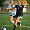 9-28-19<br /> Western vs Central Catholic girls soccer Hoosier Conference Tournament<br /> Western's Maddy Parr goes after the ball.<br /> Kelly Lafferty Gerber | Kokomo Tribune