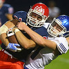 9-13-19<br /> Cass vs Tipton football<br /> Tipton's Drew Servies takes down Cass' Gabe Eurit.<br /> Kelly Lafferty Gerber | Kokomo Tribune