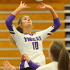 9-3-19<br /> Northwestern vs Clinton Central volleyball<br /> NW's Kendal Rooze sets the ball.<br /> Kelly Lafferty Gerber | Kokomo Tribune