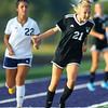 9-28-19<br /> Western vs Central Catholic girls soccer Hoosier Conference Tournament<br /> Western's Lucy Weigt heads the ball.<br /> Kelly Lafferty Gerber | Kokomo Tribune