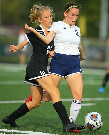 9-28-19<br /> Western vs Central Catholic girls soccer Hoosier Conference Tournament<br /> Western's Lucy Weigt and Central Catholic's Aubrey Weeks battle over ball control.<br /> Kelly Lafferty Gerber | Kokomo Tribune