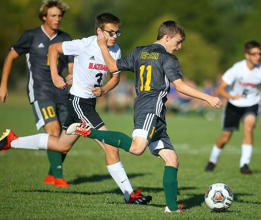 9-26-19<br /> Eastern vs Sheridan boys soccer<br /> Eastern's Seth Lamb heads to the goal.<br /> Kelly Lafferty Gerber   Kokomo Tribune