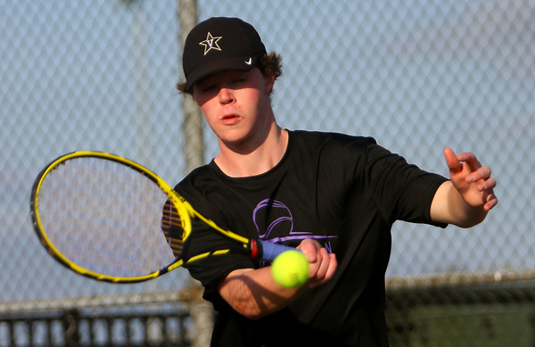 Cole Wise playing number 1 for Northwestern Tennis against Rochester on Sept. 25, 2019. <br /> Tim Bath | Kokomo Tribune