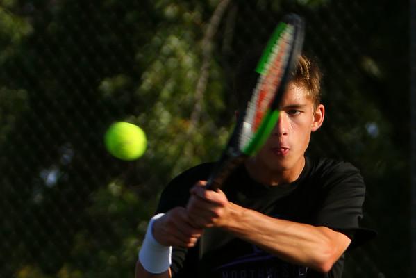 Adam Morrow playing number 2 for Northwestern Tennis against Rochester on Sept. 25, 2019. <br /> Tim Bath | Kokomo Tribune