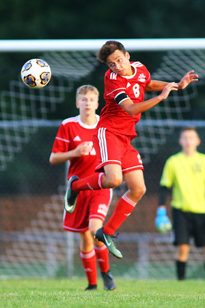 Kokomo's Gabriel Araujo-Lage playing some defence during soccer action between Kokomo High School and Logansport High School on Sept. 17, 2019.<br /> Tim Bath | Kokomo Tribune