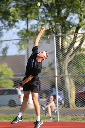 Addison Horner playing doubles with Will Lovelace for Northwestern Tennis against Rochester on Sept. 25, 2019. <br /> Tim Bath | Kokomo Tribune