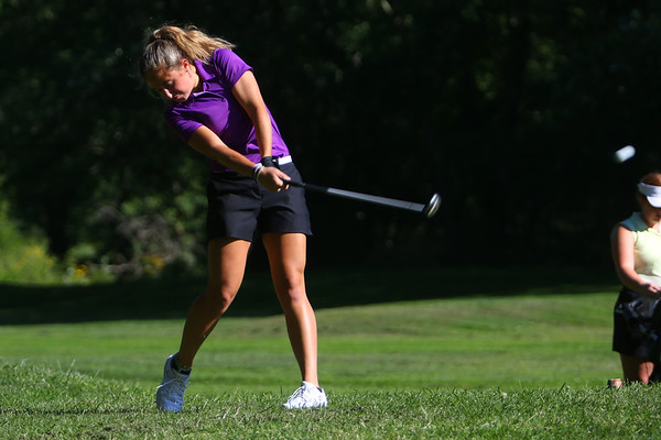 Golf matchup between Northwestern HS and Eastern HS at Green Acres Golf Course on Sept. 5, 2019. Northwestern's Audrey Koetter hitting off the tee of the 3rd hole.<br /> Tim Bath   Kokomo Tribune