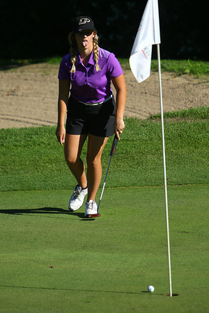 Golf matchup between Northwestern HS and Eastern HS at Green Acres Golf Course on Sept. 5, 2019. Northwestern's Leah Parrott missing a putt on the 2nd hole.<br /> Tim Bath | Kokomo Tribune