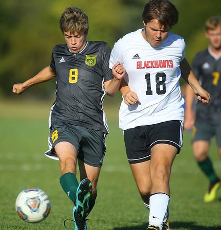 9-26-19<br /> Eastern vs Sheridan boys soccer<br /> Eastern's Lucas Stout gets control of the ball over Sheridan's Jacob Shreve.<br /> Kelly Lafferty Gerber | Kokomo Tribune