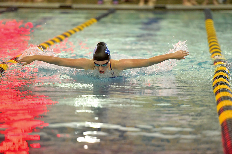 Matthew Gaston | The Sheridan Press<br>Sheridan's Isabel Cleland crushes the butterfly stroke during the 200 SC Meter Individual Medley Saturday, Sept. 28, 2019.