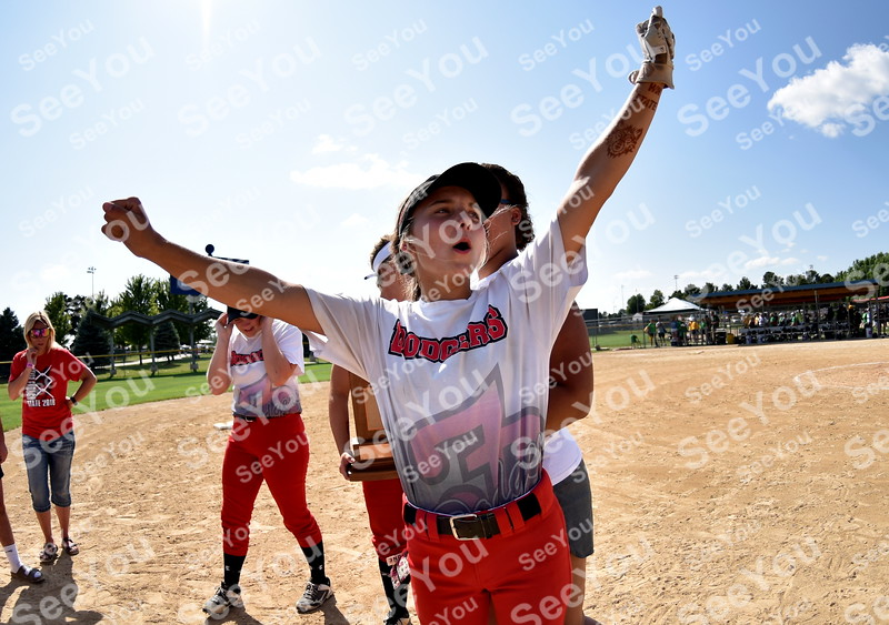 -Messenger photo by Britt Kudla<br /> Sophia Klinger of Fort Dodge react after Dodgers defeat Cedar Rapids Kennedy during class 5A consolations