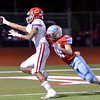 Lumberton Raider Hunter Fesco, 10, helps to knock the ball loose as Carthage Bulldog Kel Williams, 7, reachs for the goal line during the 4A Area Round Playoff Friday, Nov 22, 2019 in Lumberton, Tx.  Williams recovers his own fumble in the endzone, for the touch down. Photo: Drew Loker/Special to The Enterprise