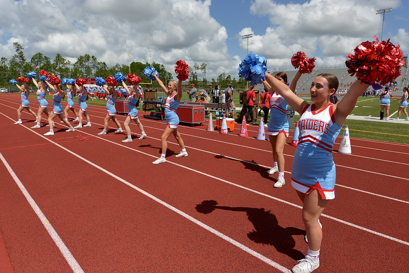 Lumberton Raider cheerleaders rally the fans as they take on the Evadale Rebels on Saturday, September 21, 2019 in Lumberton. Photo: Drew Loker/Special to The Enterprise