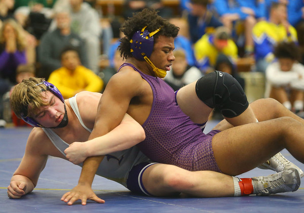 2-1-20<br /> Sectional wrestling<br /> Northwestern's Kyle Cardwell defeats Marion's Kainen Malone-Johnson in the 182.<br /> Kelly Lafferty Gerber | Kokomo Tribune