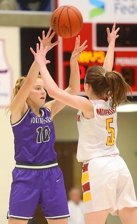 2-8-20<br /> Northwestern vs McCutcheon girls basketball sectional championship <br /> Klair Merrell throws a pass.<br /> Kelly Lafferty Gerber | Kokomo Tribune