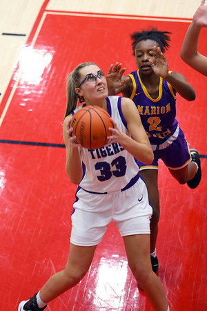 Madison Bosktic shoots in the second half of the girls sectional basketball at Logansport between Northwestern and Marion HS on February 7, 2020.<br /> Tim Bath | Kokomo Tribune