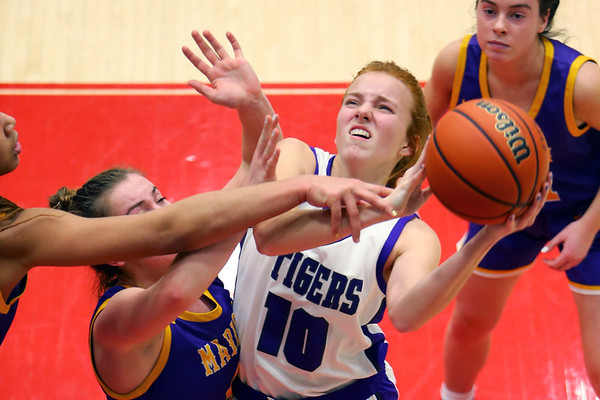 Klair Merrell gets fouled while shooting in the second half of girls sectional basketball at Logansport between Northwestern and Marion HS on February 7, 2020.<br /> Tim Bath   Kokomo Tribune