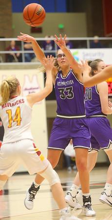 2-8-20<br /> Northwestern vs McCutcheon girls basketball sectional championship <br /> Madison Layden throws a pass.<br /> Kelly Lafferty Gerber | Kokomo Tribune