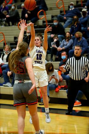2-5-21<br /> Ellie Boyer on a 3 point shot as Northwestern girls loose to Harrison in Friday evenings sectional basketball match up in West Lafayette.<br /> Tim Bath | Kokomo Tribune