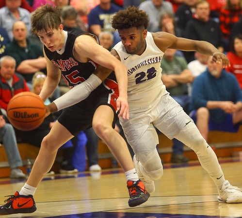2-11-20<br /> Northwestern vs Blackford boys basketball<br /> NW's Tayson Parker tries to steal the ball from Blackford's Luke Brown.<br /> Kelly Lafferty Gerber | Kokomo Tribune