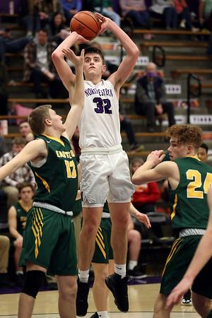 2-13-21<br /> Eli Edwards shooting as Northwestern defeats Eastern in Saturday evenings boys basketball matchup 49-44.<br /> Tim Bath   Kokomo Tribune