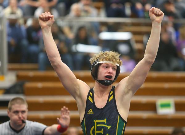 2-1-20<br /> Sectional wrestling<br /> Eastern's Tallan Morrisett defeats Oak Hill's Tyler Miller in the 145.<br /> Kelly Lafferty Gerber | Kokomo Tribune