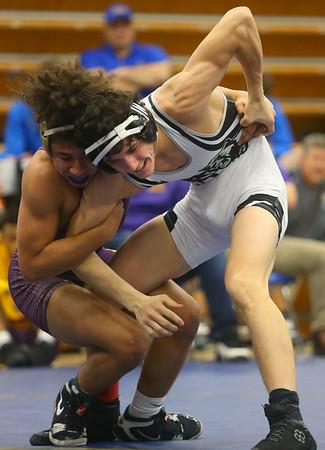 2-1-20<br /> Sectional wrestling<br /> Western's Hayden Shepherd defeats Marion's Daylen Johnson in the 138.<br /> Kelly Lafferty Gerber | Kokomo Tribune