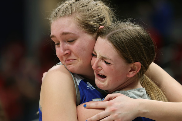 2-26-21<br /> Ashlee Schram and Allison Powell at the end of the game as Tipton Blue Devils lose to Linton-Stockton Miners in the class 2A girls State Finals at Bankers Life.<br /> Tim Bath | Kokomo Tribune