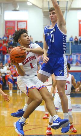 2-8-20<br /> Basketball Day-Kokomo vs Tipton<br /> Kokomo's Savion Barrett puts up a shot as Tipton's Sam Ridgeway puts up a block.<br /> Kelly Lafferty Gerber | Kokomo Tribune