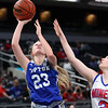 2-26-21<br /> Abigail Phillips puts up the last 2 for Tipton as the Blue Devils lose to Linton-Stockton Miners in the class 2A girls State Finals at Bankers Life.<br /> Tim Bath   Kokomo Tribune
